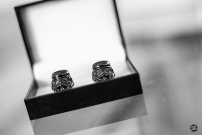 Groom's personalised Darth Vader cuff links for the wedding ceremony