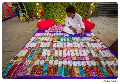 Bangle stall for an outdoor pre-wedding function