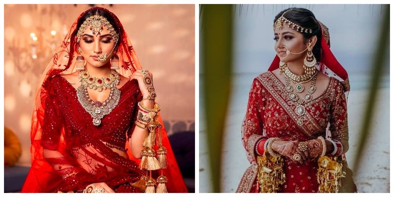 6 Brides who Paired their Red Lehenga with Stunning Jewellery