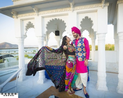 Unique contemporary-traditional outfit for couple for daytime mehendi function