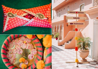 Beautiful decor done up in a traditional manner for the mehendi and haldi ceremonies