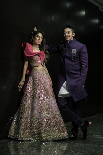 Tanya and Azhar dazzled in their designer attires.