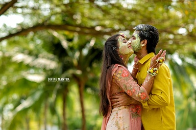 cute picture of the couple at the haldi ceremony
