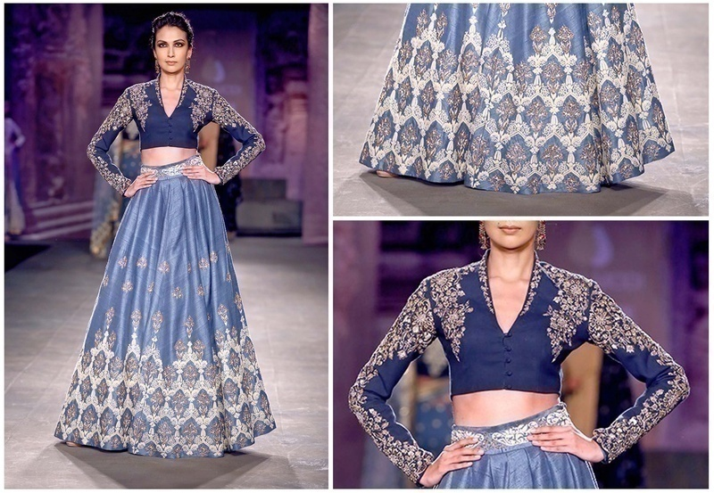 Embroidered Khadi Blouse with an Embellished Powder Blue Silk Lehenga