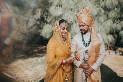 The couple flauned gorgeous, complementing outfits as part of  their wedding ceremony.