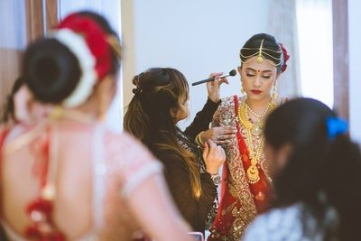 Bride getting ready for her wedding day.