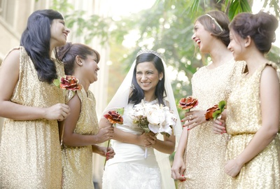 Shimmery gold bridesmaid's dresses