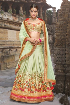Variation Green Silk Bridal Lehenga Choli
