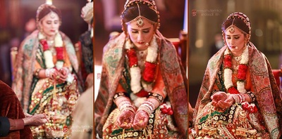 Wedding lehenga covered with a shimmery pink shawl with floral patterned weaves