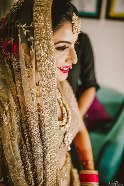 All golden bride ready for her wedding ceremony