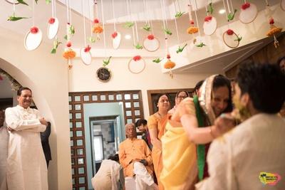 Indoor decor for haldi ceremony held at home