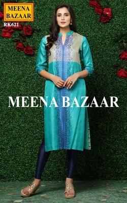 Meena Bazaar Firozi Tussar Embroidered Kurti