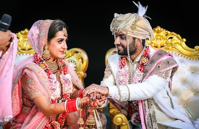 candid capture of the couple during the wedding ceremony