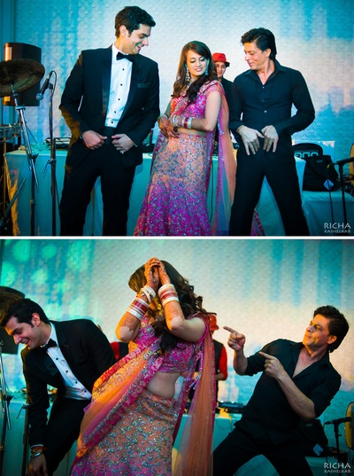 Bollywood Badhshah Shahrukh Khan dancing and celebrating the post-wedding reception party of the couple