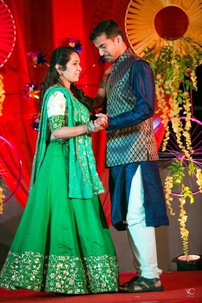 Bride and Groom dancing on their sangeet ceremony
