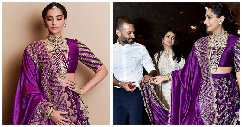 Sonam Kapoor in a gorgeous purple lehenga with hubby, Anand by her side is the best thing you'll see today!