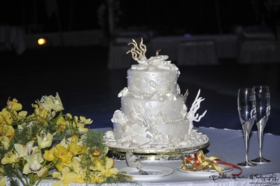 White coral themed three tier wedding cake