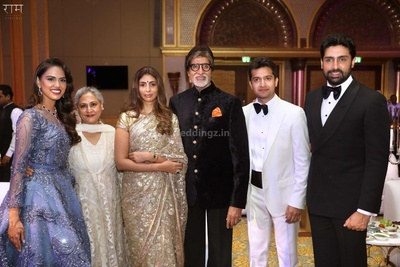 Family portrait of the bride and groom with the Bachchan family