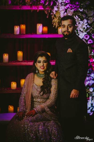 The bride and groom at the sangeet ceremony
