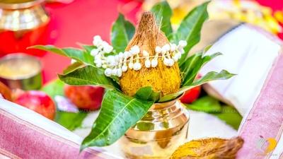 Shreefal, Mogra strings and Kalash setup for the wedding rituals
