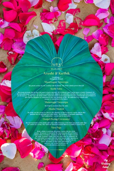 An eco-friendly invite, with the details printed on a banana leaf instead of paper.