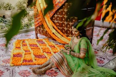 The bride enjoying her time post the mehendi ceremony!