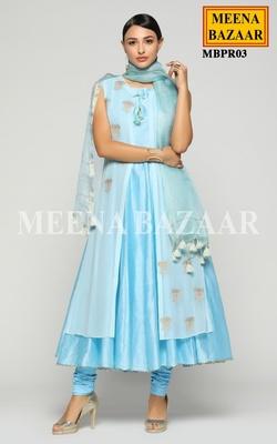 Meena Bazaar Ice Blue Chanderi Anarkali set