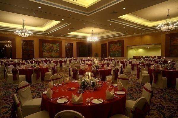 indoor wedding banquet hall with dim lighting