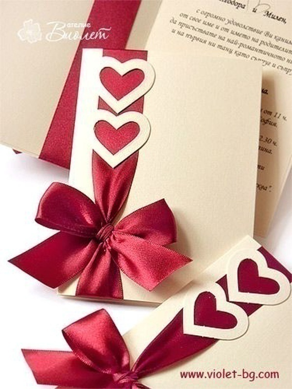 Red, White and Gold Wedding Invitations