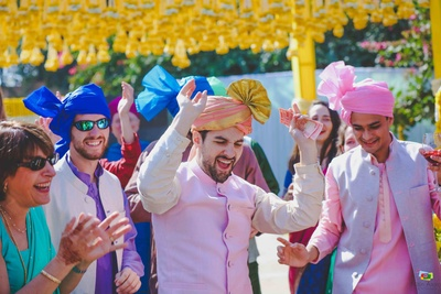 Groom entering the wedding mandap with his baraat