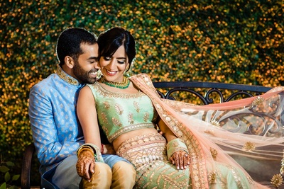 candid couple photography post the mehndi ceremony
