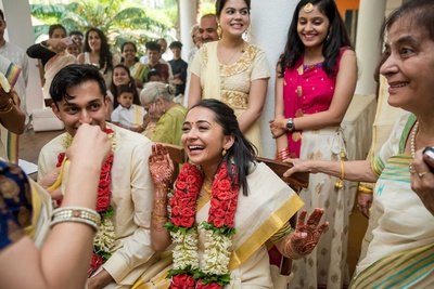 Candid capture of the bride and groom at the wedding function at Aashyana Lakhanpal, Goa