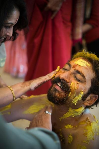 Happy faces at the grooms haldi ceremony