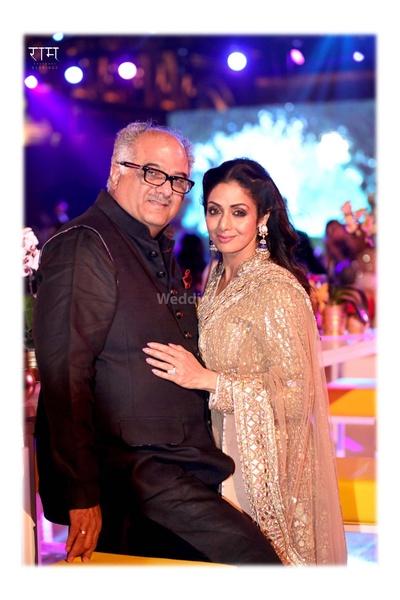 Boney Kapoor and Sri Devi pose together during the wedding celebrations