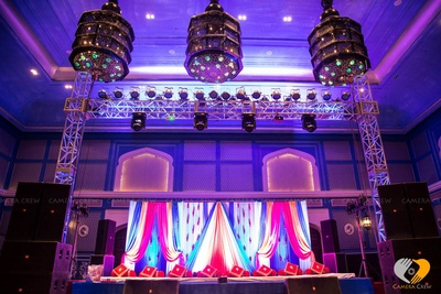 Vintage lamps setup for Sangeet ceremony