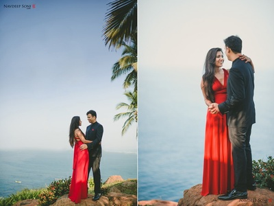 Deep V-necked floor length solid gown with a criss-cross back design for the romantic pre- wedding photo shoot