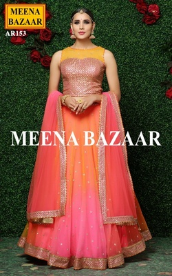 Meena Bazaar Shaded Embroidered Lehenga