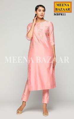 Meena Bazaar Rose Pink Chanderi Kurti