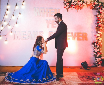 Bride proposes to groom during the sangeet ceremony