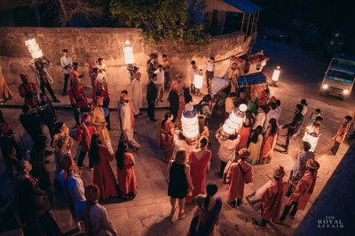 Baraatis dancing and celebrating the royal wedding held at Samode Palace, Jaipur