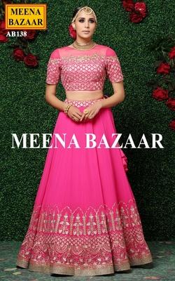 Meena Bazaar Pink Embroidered Lehenga