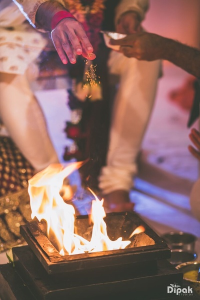 Hawan during the wedding ceremony rituals