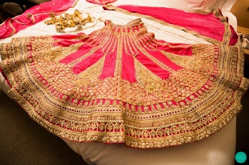11. With simply placing the lehenga on the bed: