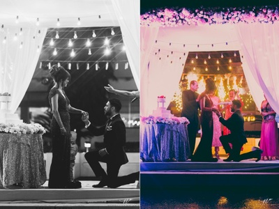 Groom proposes to his bride during the engagement ceremony!