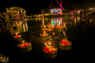 Pool side area at Sofitel, Krabi decorated with floating candles and flowers