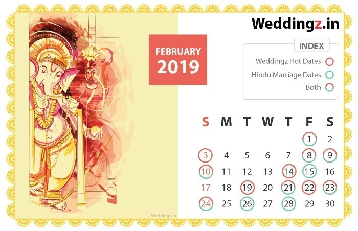Marriage Dates in 2019, January Hindu Marriage dates - 17th, 18th, 23rd, 25th, 26th and 29th.