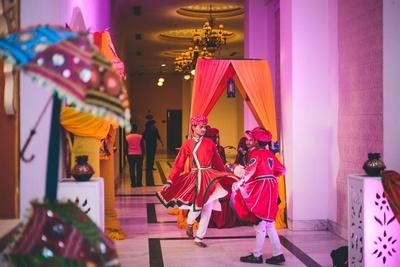 Beautiful rajasthani set up for the Sangeet Cermeony.