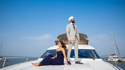 A super-cool pre-wedding shoot taking place on a yacht.