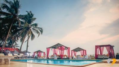 Open-air cabana tent setup at Le Cabana, Goa for fun filled pool party