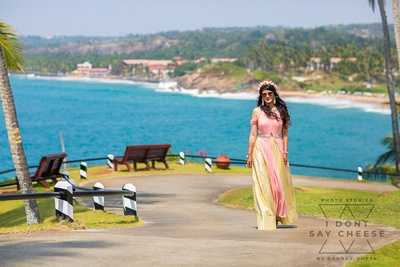 the bride in a pastel gown at the hawaaiin affair